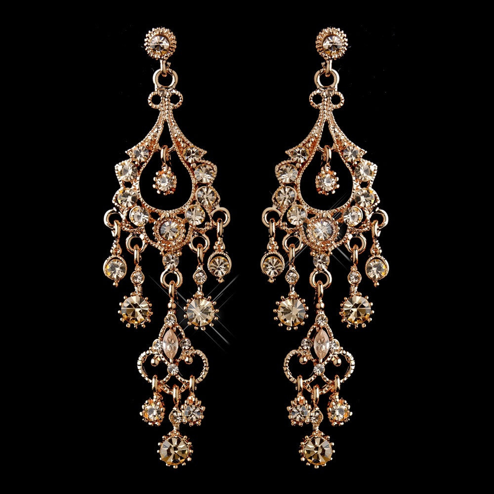 Antique Rose Gold Champagne Crystal Chandelier Bridal Wedding Earrings 1028