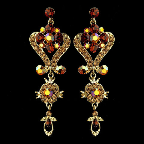 Gold Brown Multi Crystal Chandelier Bridal Wedding Earrings 1031