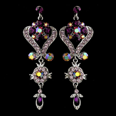 Silver Amethyst Purple Chandeleir Crystal Bridal Wedding Earrings 1031