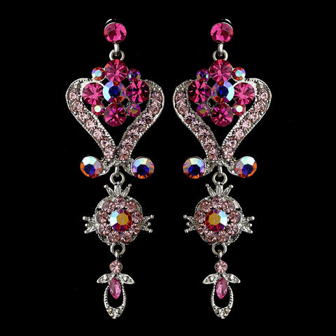 Silver Pink Multi Crystal Chandeleir Bridal Wedding Earrings 1031