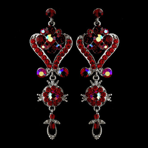 Silver Red Multi Crystal Chandelier Bridal Wedding Earrings 1031