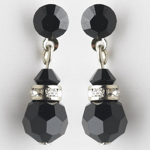 Black Swarovski Crystal Bridal Wedding Earrings 200