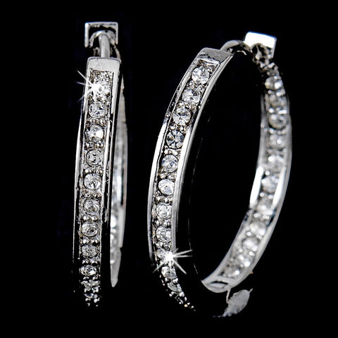 * Gorgeous Antique Silver Clear CZ Hoop Bridal Wedding Earrings 2020