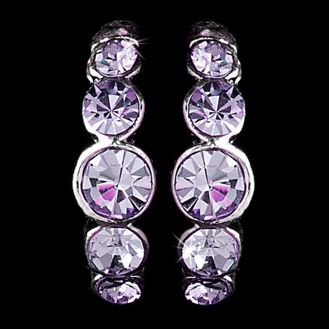 Silver Amethyst Rhinestone Hoop Bridal Wedding Earrings 20339