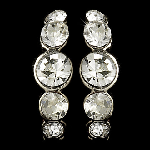 Silver Clear Rhinestone Hoop Bridal Wedding Earrings 20339