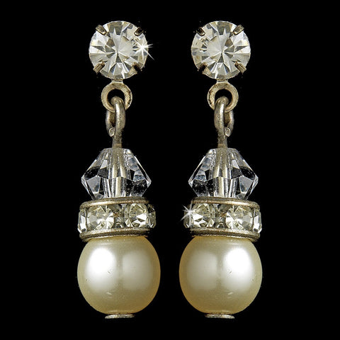 Gold and Ivory Pearl Bridal Wedding Earrings E 212
