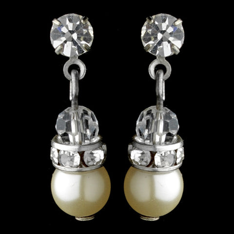 Precious Pearl & Crystal Drop Bridal Wedding Earrings 216