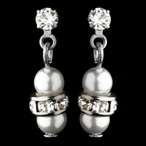 Pearl & Rhinestone Drop Bridal Wedding Earrings 217