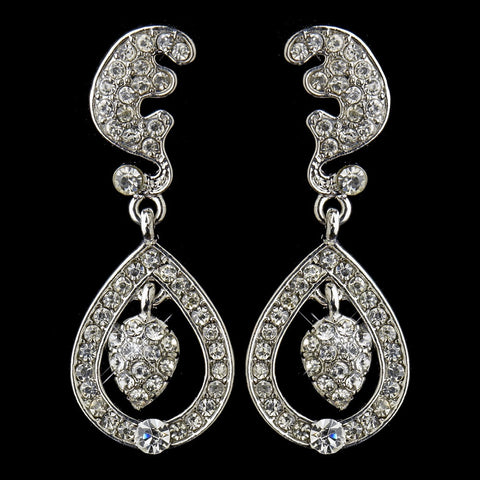 Antique Silver Clear Kate Middleton Inspired Tear Drop Acorn Bridal Wedding Earrings 22325