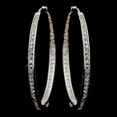 * Large Cubic Zirconia Pave Hoop Bridal Wedding Earrings in Luminous Silver 2235