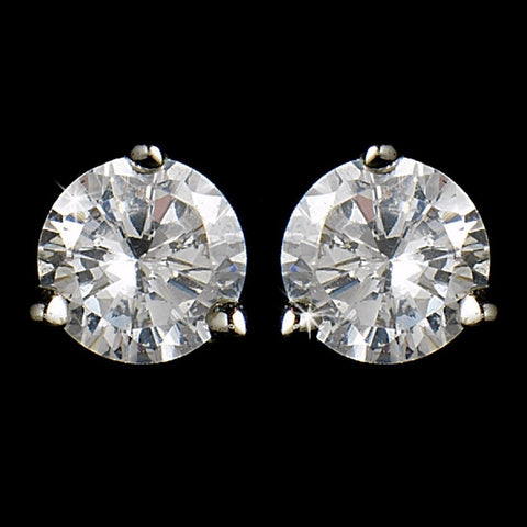 Petite Silver Clear CZ Crystal Stud Bridal Wedding Earrings 2431