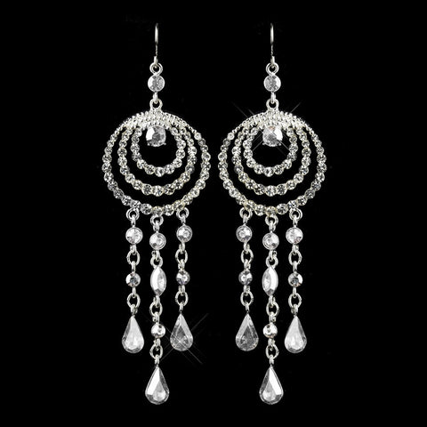 Silver Clear Austrian Crystal Chandelier Bridal Wedding Earrings 24496