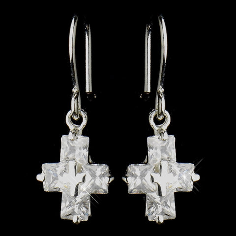 Silver Clear Rhinestone Dangle Drop Cross Bridal Wedding Earrings 24786