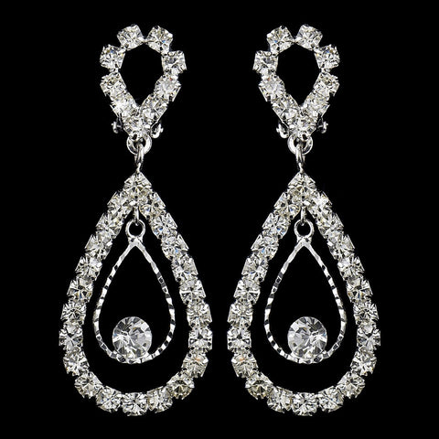 Stunning Silver Clear Crystal Double Loop Bridal Wedding Earrings 25249