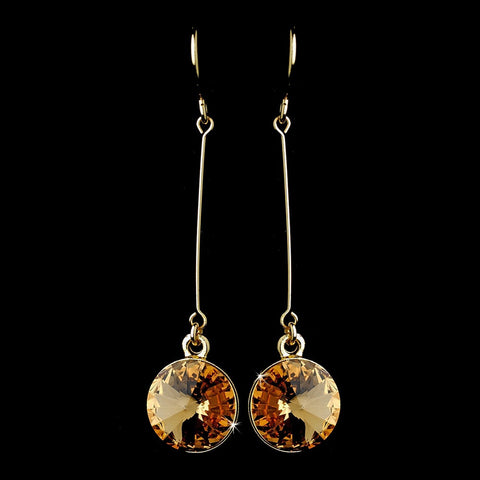 Elegant Gold Topaz Crystal Drop Bridal Wedding Earrings 25729