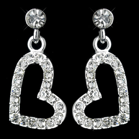 Dangling Rhinestone Covered Heart Bridal Wedding Earrings in Silver 26692