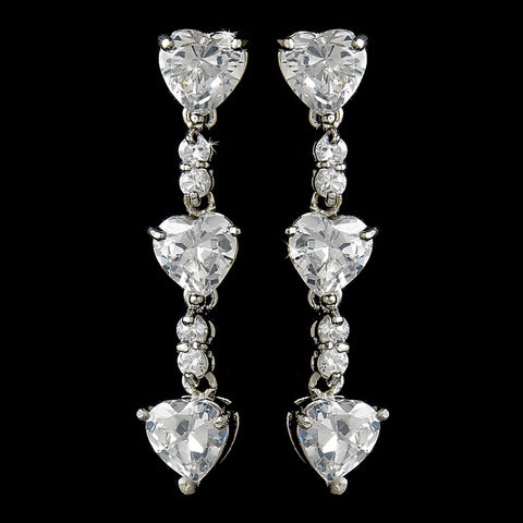 From The Heart Silver Cubic Zirconia Bridal Wedding Earrings E 3698