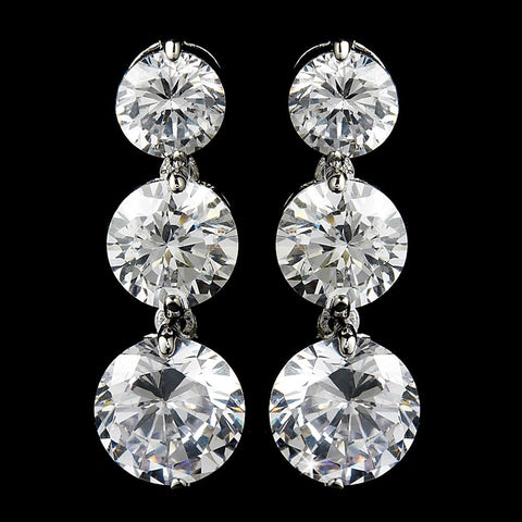 3 Drop Silver Clear Cubic Zirconia Bridal Wedding Earrings E 3713