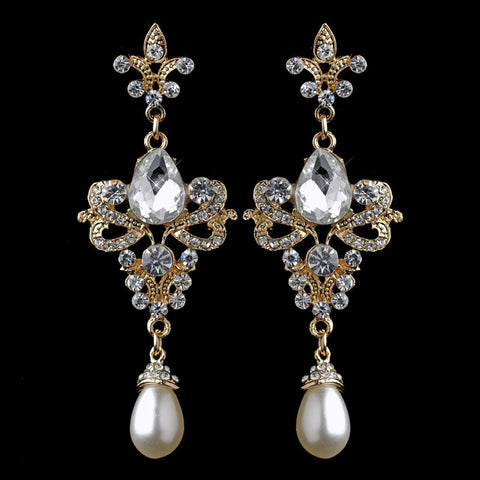 Gold Rhinestone & Diamond White Pearl Fleur de lis Dangle Bridal Wedding Earrings 3760