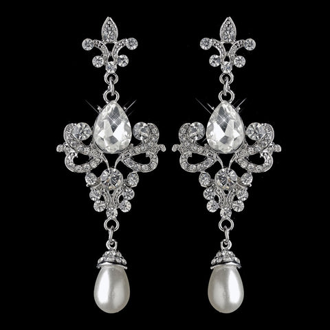 Rhodium Rhinestone & White Pearl Fleur de lis Dangle Bridal Wedding Earrings 3760