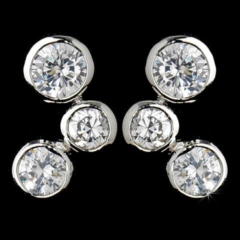 Antique Silver Clear CZ Earring 3807