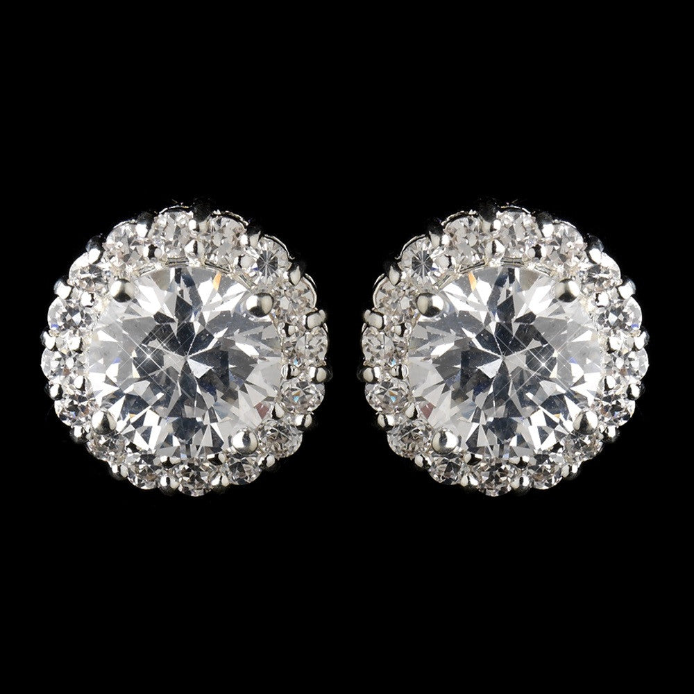 Circular Cubic Zirconia Pave Stud Bridal Wedding Earrings in Silver 4046