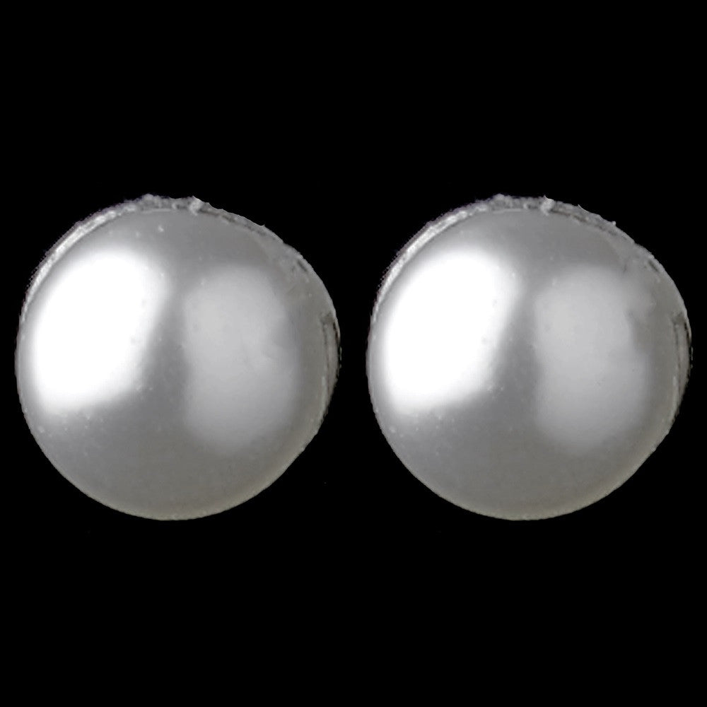 3 mm Dainty White Faux Pearl Stud Bridal Wedding Earrings in Silver 405