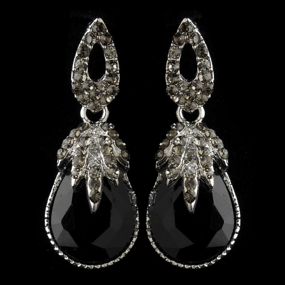 Antique Silver Black Rhinestone Teardrop Dangle Bridal Wedding Earrings 40697