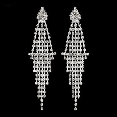 Captivating Silver Chandelier Bridal Wedding Earrings E 410