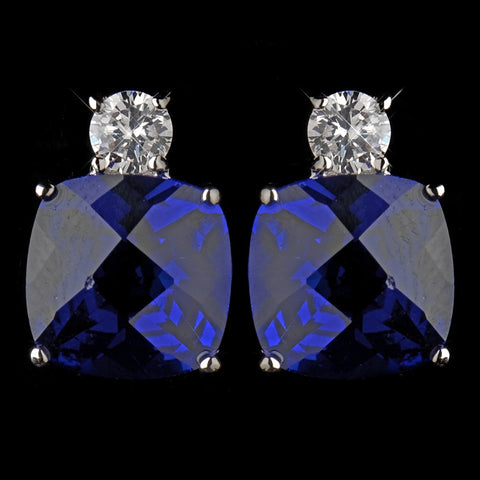 Antique Silver Rhodium Sapphire CZ Crystal Stud Bridal Wedding Earrings 4782