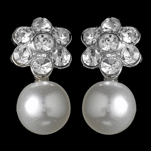 Silver & White Pearl Flower Bridal Wedding Earrings E 502
