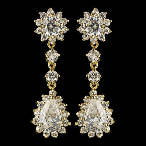 Gold Clear CZ Crystal Kate Middleton Inspired Dangle Bridal Wedding Earrings 5560