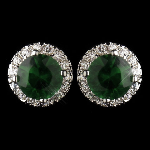 Antique Silver Rhodium Emerald CZ Crystal Stud Bridal Wedding Earrings 5601