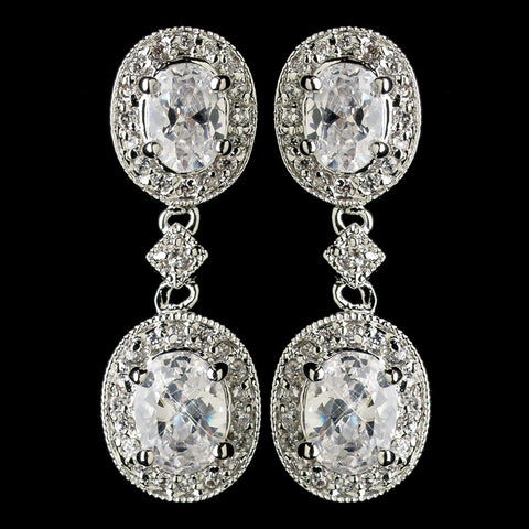 Antique Silver Clear Oval CZ Crystal Drop Bridal Wedding Earrings 5996