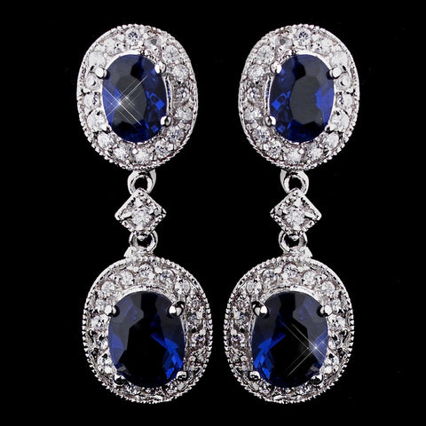 Silver Sapphire Kate Middleton Inspired Silver Sapphire Blue CZ Bridal Wedding Earrings 5996