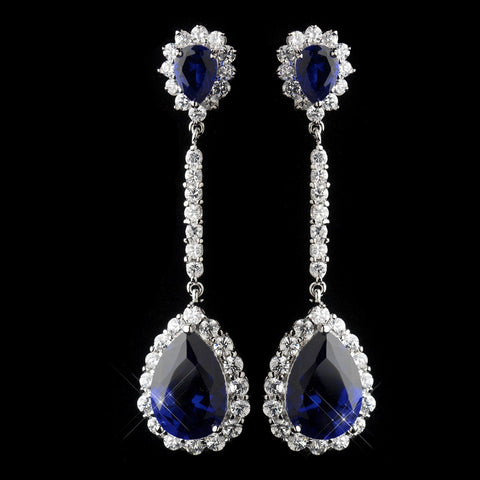 Antique Silver Rhodium Sapphire CZ Crystal Drop Bridal Wedding Earrings 7244