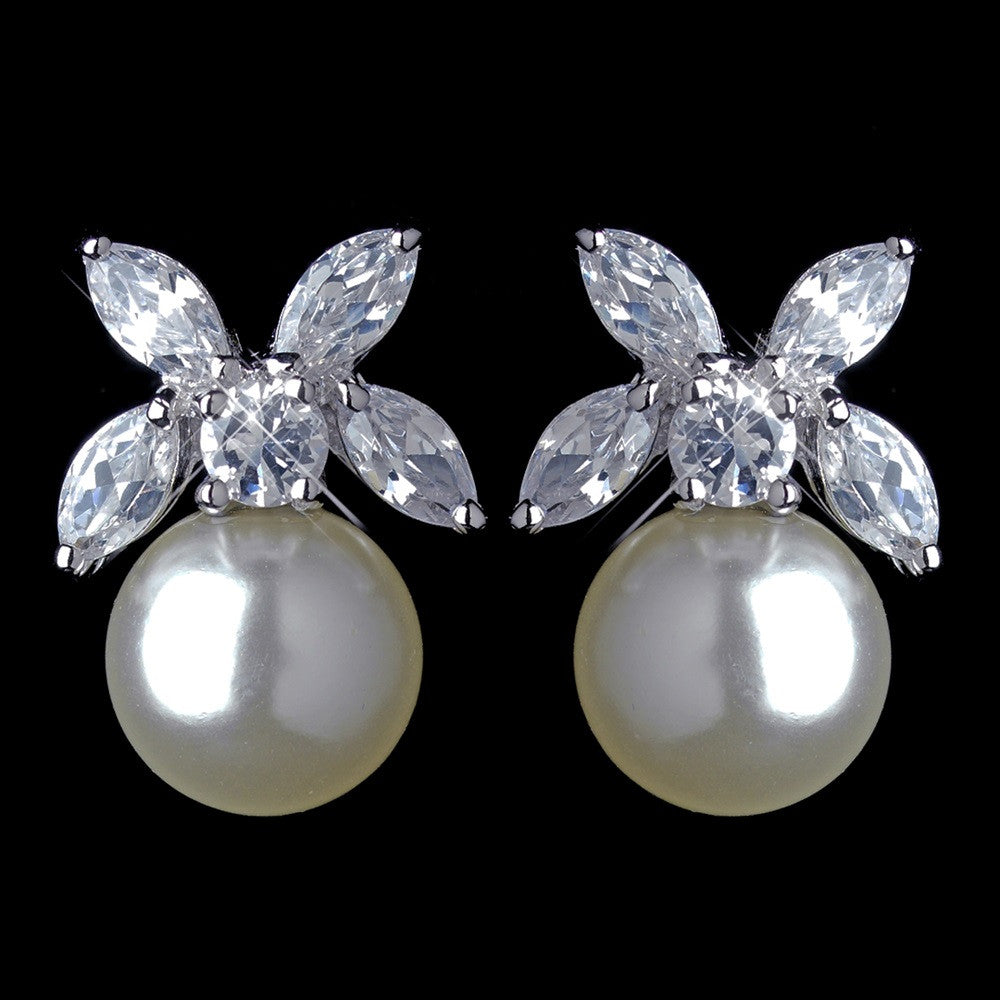 Antique Rhodium Silver CZ Clear Crystal & Diamond White Pearl Stud Bridal Wedding Earrings 7401
