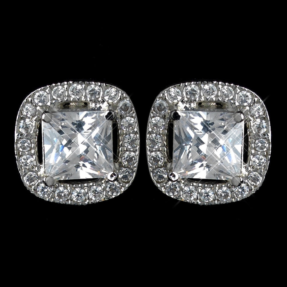 Antique Rhodium Silver Clear Cushion Cut CZ Crystal Stud Bridal Wedding Earrings 7403