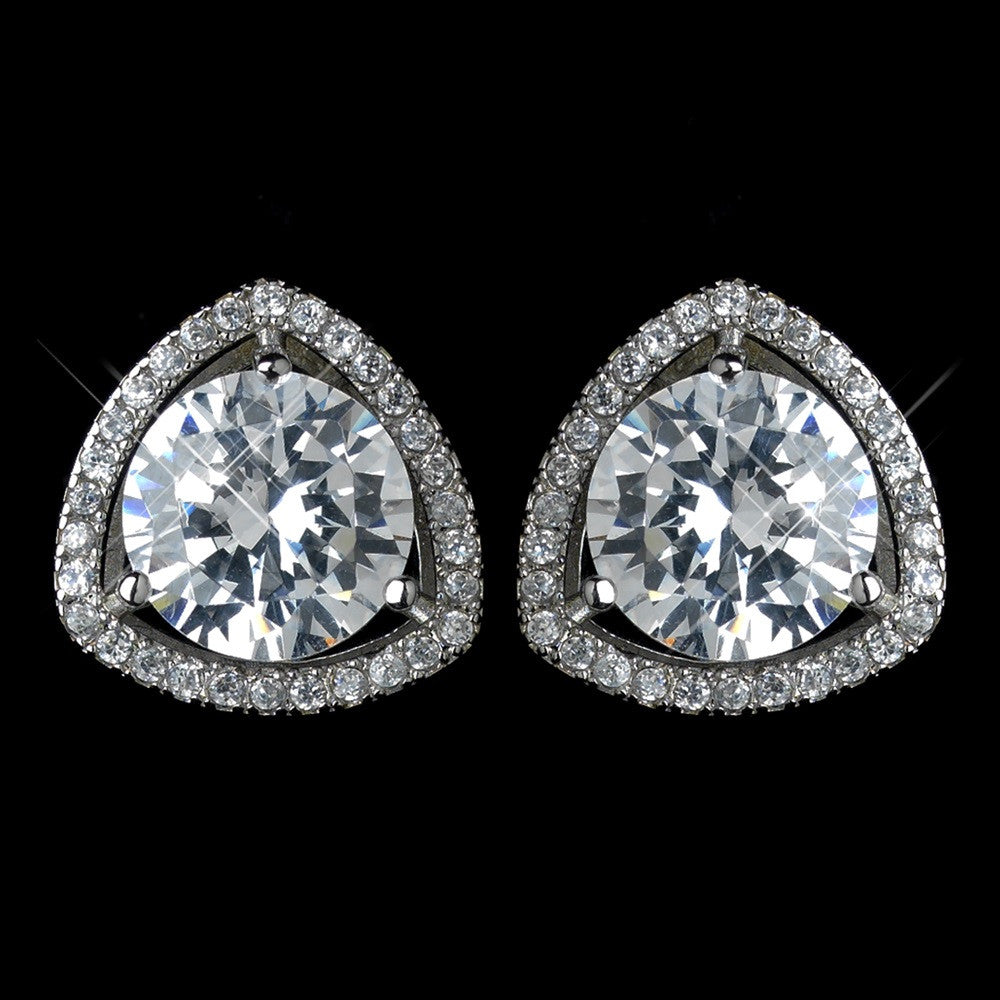 Antique Rhodium Silver Clear Solitaire Pave Encrusted Stud Bridal Wedding Earrings 7405
