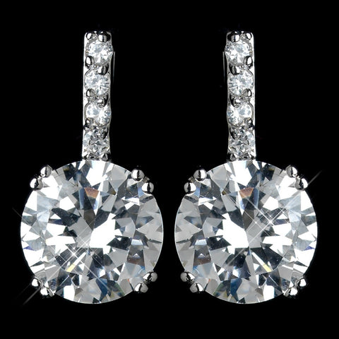 Antique Rhodium Silver Clear Pave With Solitaire Stud Drop Bridal Wedding Earrings 7408