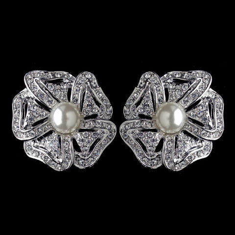 Rhodium Double Row Ivory Pearl CZ Crystal Rose Stud Bridal Wedding Earrings 76012
