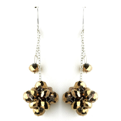 * Gold Brown Cluster Dangle Earring Set 7620