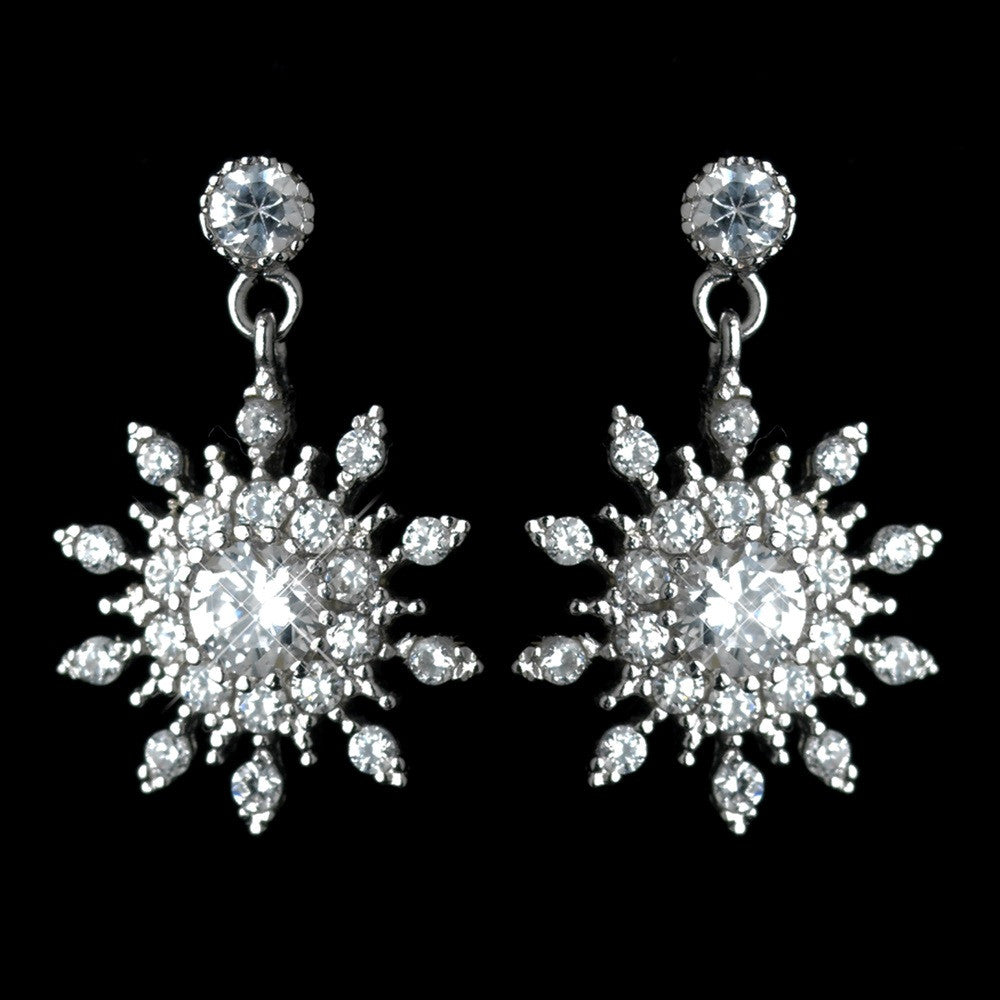 Antique Rhodium Silver Clear Petite Snowflake CZ Crystal Drop Bridal Wedding Earrings 7737