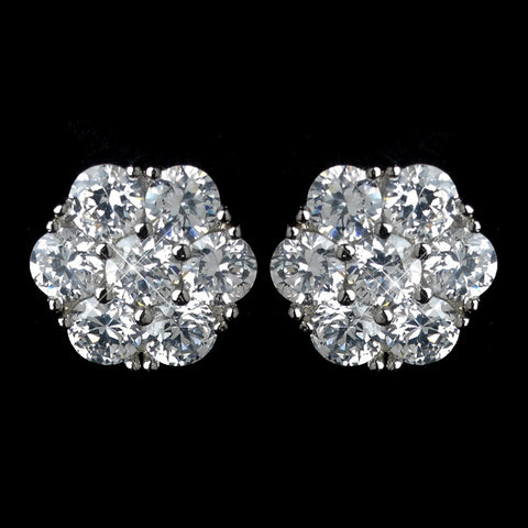 Antique Rhodium Silver Clear CZ Crystal Cluster Flower Bridal Wedding Earrings 7742