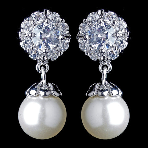 Antique Rhodium Silver Petite CZ Crystal Solitaire Encrusted With Pearl Drop Bridal Wedding Earrings 7758