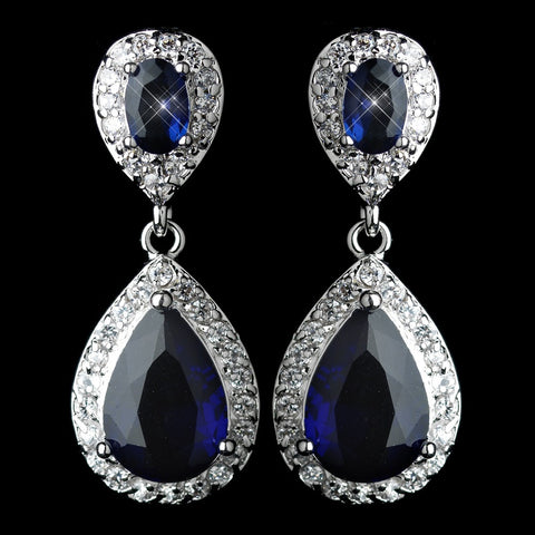 Antique Rhodium Silver Sapphire Drop CZ Crystal Bridal Wedding Earrings 7761