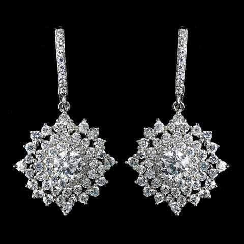 Antique Rhodium Silver Clear CZ Crystal Cluster Snowflake Like Leverback Bridal Wedding Earrings 7771
