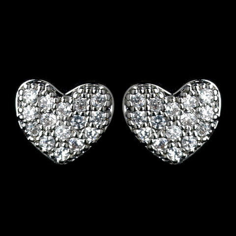 Antique Rhodium Silver Petite Pave Heart Children's Bridal Wedding Earrings 7776