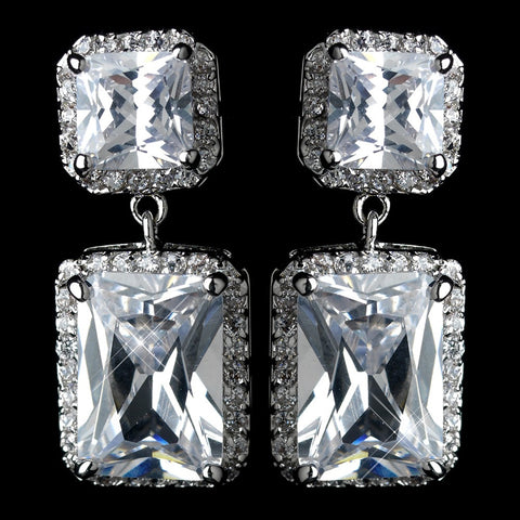Antique Rhodium Silver Clear Princess Cut CZ Crystal Pave Drop Bridal Wedding Earrings 7780
