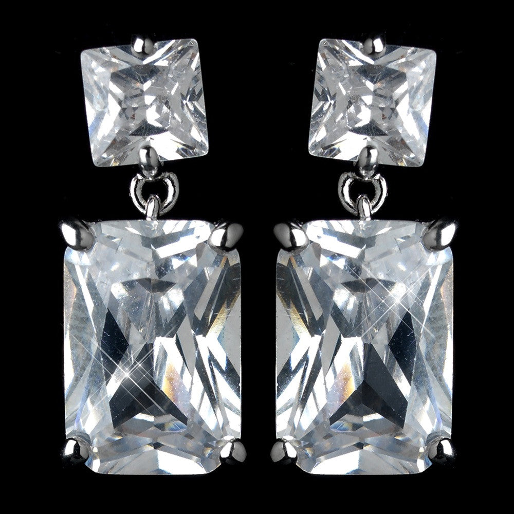 Antique Rhodium Silver Clear Princess Cut CZ Crystal Drop Bridal Wedding Earrings 7781